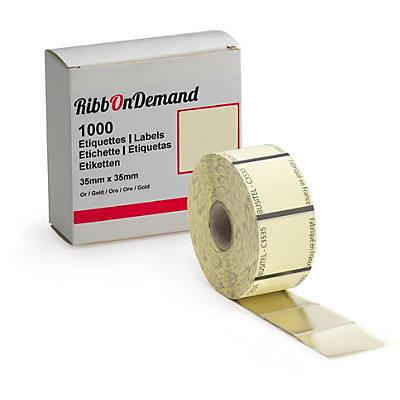 Étiquette carrée adhésive 35 mm x 35 mm + couleur pour imprimante RibbonDemand