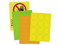 Étiquette fluo rectangualire adhésif permanent en planche A4