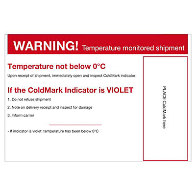Étiquette de positionnement pour indicateur de température COLD##Waarschuwingslabel voor temperatuurindicator COLD