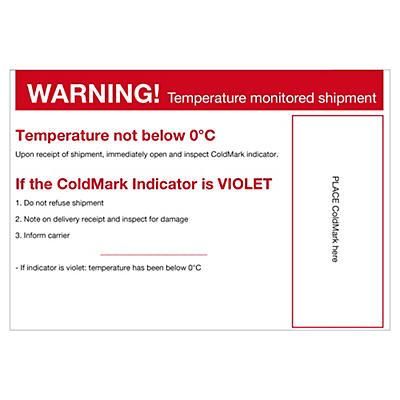 Étiquette de positionnement pour indicateur de température COLD