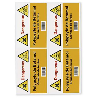 Étiquettes en polyéthylène blanc
