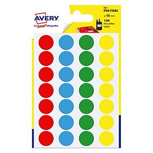 Etui de 144 pastilles adhésives couleur diamètre 15 mm, 4 coloris assortis