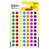 Etui de 420 pastilles adhésives couleur diamètre 8 mm, 7 coloris assortis