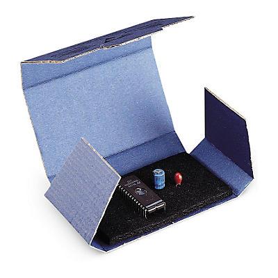 Étui carton blindé avec mousse noire conductrice##Antistatische kartonnen doos met zwart geleidend schuim