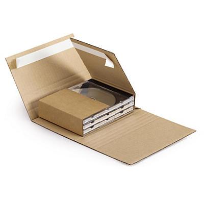 Étui-croix postal pour CD et DVD en carton##Flexible Multimedia-Versandverpackung, braun