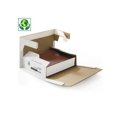 Étui postal carton blanc renforcé avec fermeture adhésive RAJABOOK