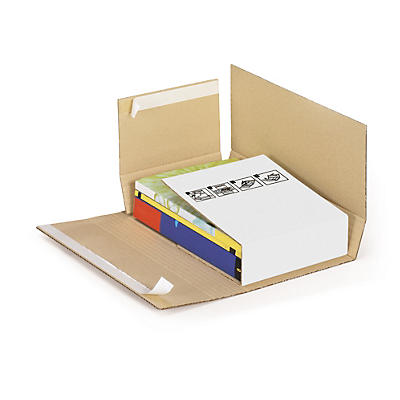 Etui postal carton brun/blanc petite cannelure avec fermeture adhésive format A3