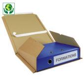 Étui postal carton brun avec fermeture adhésive pour classeur