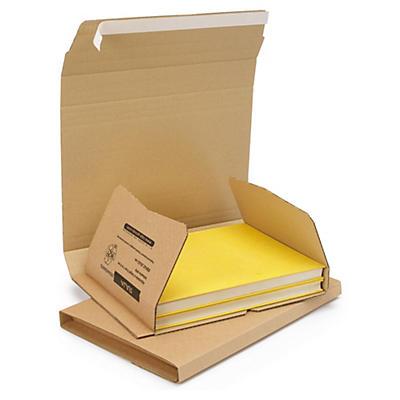 Etui postal carton brun petite cannelure avec fermeture adhésive RAJABOOK Standard format A3