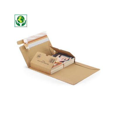"""Étui postal carton avec fermetures adhésives """"aller-retour"""""""