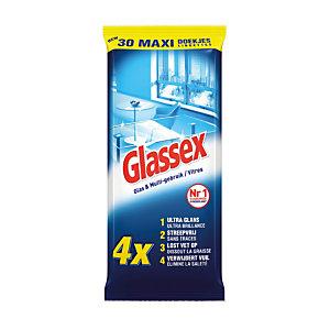 Etui van 30 doekjes Glassex voor ruiten en glasoppervlakken