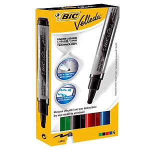 Etui van 4 uitwisbare markeerstiften Velleda vloeibare inkt geassorteerd kleuren 5 mm