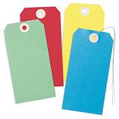 Etykiety kartonowe kolorowe z drucikiem