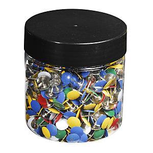 Exacompta Boîte de 1 000 punaises couleur en laiton - Hauteur de pointe 9mm - 9mm de diamètre