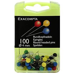 EXACOMPTA Boîte de 100 épingles sphériques - Hauteur de pointe 15mm - 4mm de diamètre