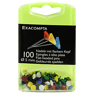 EXACOMPTA Boîte de 100 épingles à tête plate unie - Hauteur de pointe 8mm - 5mm de diamètre