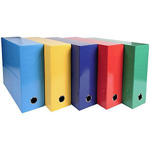 EXACOMPTA Boîte de classement Iderama® en carton, pour 800 feuilles A4 (210 x 297 mm), largeur de dos 90 mm, couleurs assorties (lot de 5)