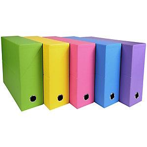 Exacompta Boîte de classement Salsa en carton, pour 800 feuilles A4 maximum (240 x 320mm), largeur de dos 90mm, couleurs assorties