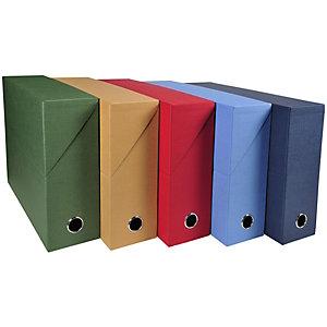 Exacompta Boîte de classement en toile cartonnée, pour 800 feuilles A4 maximum (240 x 320mm), largeur de dos 90 mm, couleurs assorties