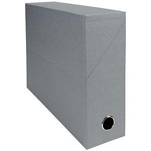 EXACOMPTA Boîte de classement en toile cartonnée, pour 800 feuilles A4 maximum (240 x 320 mm), largeur de dos 90 mm, gris (lot de 5)