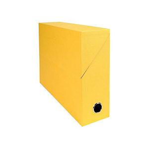EXACOMPTA Boîte de classement en toile cartonnée, pour 800 feuilles A4 maximum (240 x 320 mm), largeur de dos 90 mm, jaune (lot de 5)