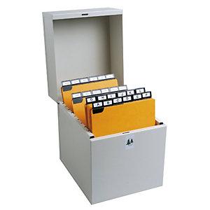 EXACOMPTA Boîte à fiches Metalib - classement de 500 fiches en hauteur - 270x210mm à 297x210mm