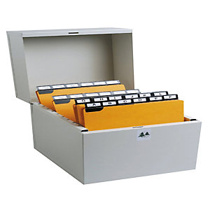 EXACOMPTA Boîte à fiches Metalib - Classement de 500 fiches horizontales - 105x148mm à 105x150mm