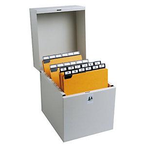 EXACOMPTA Boîte à fiches Metalib - Classement de 500 fiches verticales - 105x74mm à 125x75mm