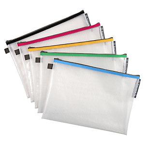 Exacompta Busta con chiusura a zip, Plastica EVA, A4, Colori assortiti