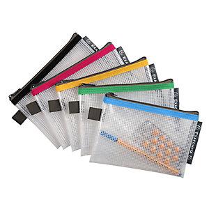 Exacompta Busta con chiusura a zip, Plastica EVA, A6, Colori assortiti