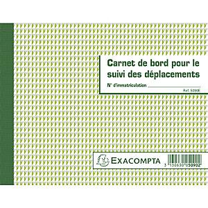 Exacompta Carnet de bord pour le suivi des déplacements - Format 14,8x19 cm