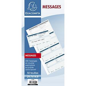 Exacompta Carnet broché 29,7x14,8cm - Messages téléphones (4 à la page) - 50 feuilles dupli autocopiantes
