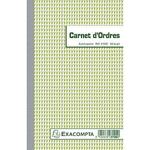Exacompta Carnet d'ordres 21x13,5cm 50 feuillets dupli autocopiants