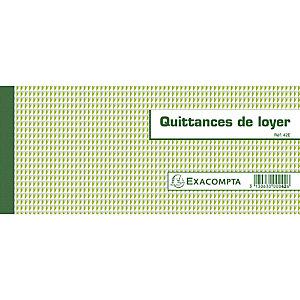 Exacompta Carnet à souche Quittances de loyer 50 feuillets - Format horizontal de la quittance : 10,1x16,5 cm