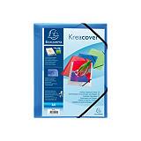 Exacompta Carpeta con cierre elástico y 3 solapas Kreacover®, A4, 200 hojas, portada personalizable, polipropileno, azul transparente