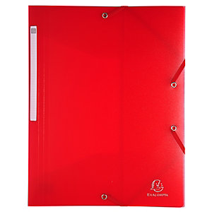 Exacompta Carpeta de gomas, A4, 3 solapas, lomo 25 mm, polipropileno, rojo
