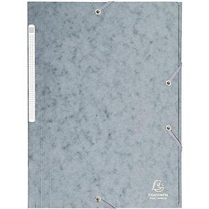 EXACOMPTA Chemise 3 rabats et élastique monobloc, carte lustrée 5/10e, capacité 300 feuilles - Gris (Lot de 25)