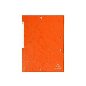 EXACOMPTA Chemise 3 rabats et élastique monobloc, carte lustrée 5/10e orange, élastique fixé devant (Lot de 25)