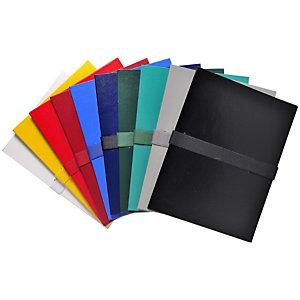 EXACOMPTA Chemise extensible jusque 13 cm, fermeture à sangle Velcro, capacité 1000 feuilles A4 - Assortis (lot de 10)
