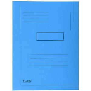 Exacompta ChemiseForever®A4 à 2rabats avec lignes imprimées, 200feuilles 240x320mm, carton comprimé recyclé, bleu
