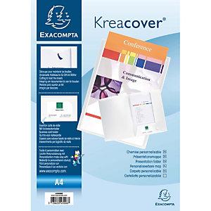 Exacompta Chemise de présentation Kreacover®A4 100feuilles polypropylène souple blanc
