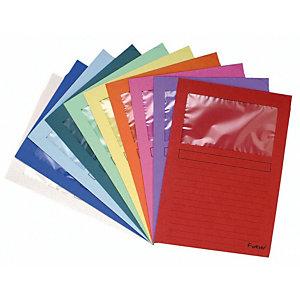 Exacompta ChemisesForever®WindowA4, 80feuilles, carton comprimé recyclé, 220x310mm, couleurs assorties, lot de 10