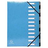 Exacompta Clasificador, A4, cartón, 12 pestañas, azul claro