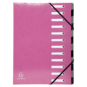 Exacompta Clasificador, A4, cartón, 12 pestañas, rosa