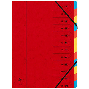 Exacompta Clasificador con gomas, A4, cartulina lustrada, 12 compartimentos, rojo