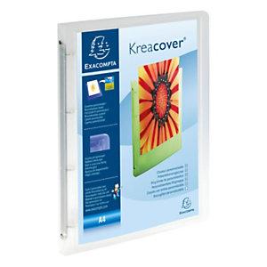 Exacompta Classeur à anneaux translucide personnalisable plastifié Kreacover - 4anneaux enD 15mm - A4 Dos 2 cm - Incolore