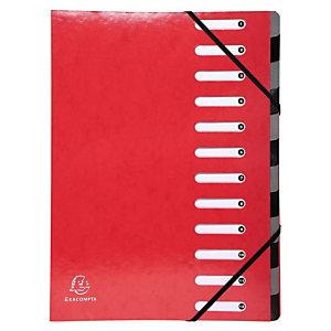 Exacompta Divisorio neutro, A4, 12 tasti, Cartoncino, Rosso
