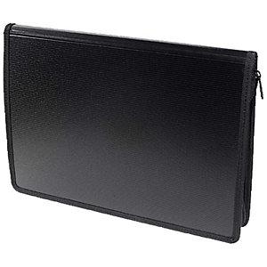 Exacompta Exawallet Exactive® Carpeta para conferencias con cierre de cremallera y bolsillo para bloc de notas de 340 x 250 x 30mm en polipropileno negro