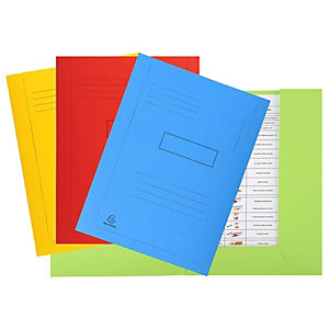 Exacompta Forever® Carpeta con líneas impresas y 2 solapas en cartón prensado reciclado para 200 hojas tamaño A4 de 240 x 320 mm en colores variados