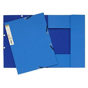 Exacompta Forever® Carpeta de gomas, A4, 3 solapas, lomo 15 mm, cartón prensado reciclado, azul claro